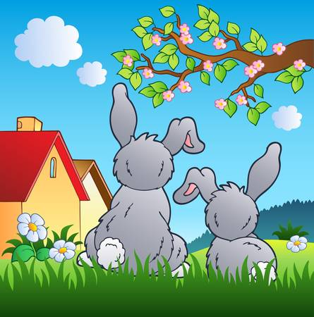 farmhouse: Meadow with two rabbits
