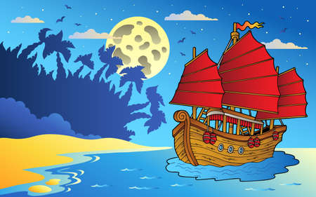 an island tradition: Night seascape with Chinese ship