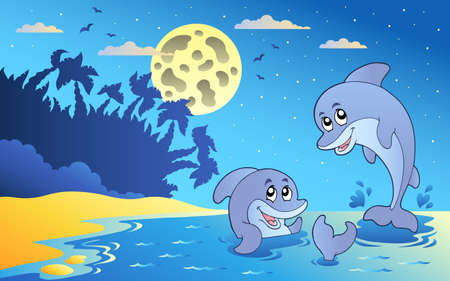 Night seascape with two dolphins   Vector
