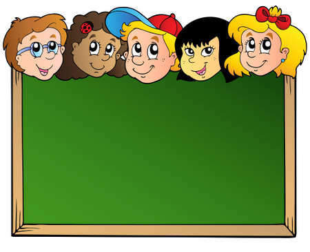 young schoolgirl: School board with children faces  Illustration