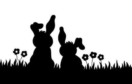 Silhouette of two rabbits on meadow   Ilustracja