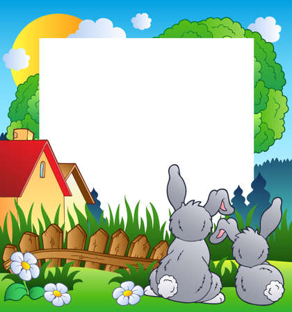 farmhouse: Spring frame with two rabbits  Illustration