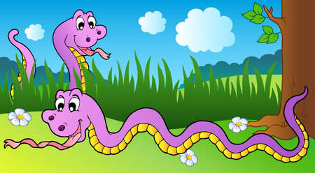 long tail: Two cartoon snakes on meadow