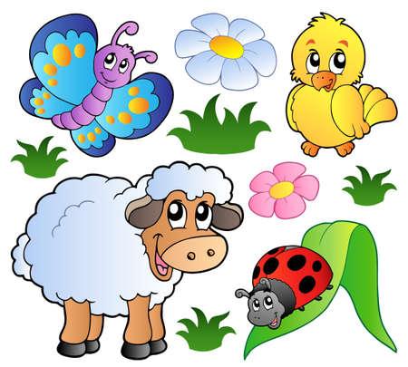 cartoon butterfly: Varios animales feliz primavera