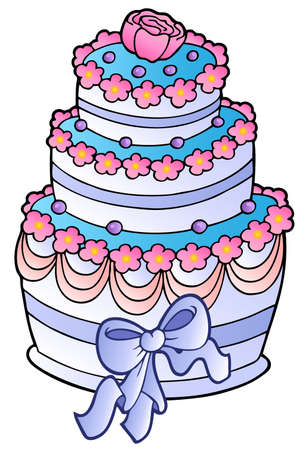 wedding reception decoration: Wedding cake with ribbon  Illustration