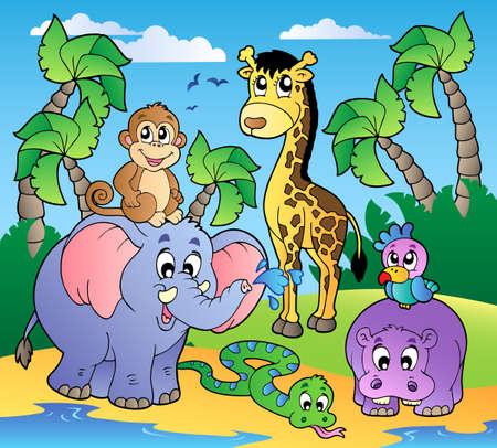 hippopotamus: Playa Africana con lindos animales - ilustraci�n vectorial. Vectores