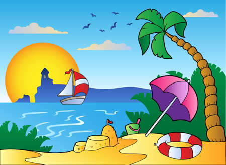 summer season: Beach with umbrella and sand castle - vector illustration.