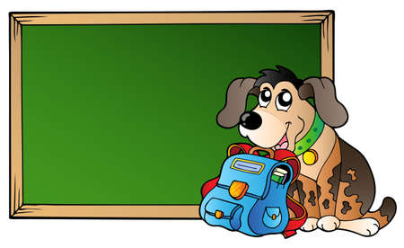 Board with dog and school bag - vector illustration. Stock Vector - 9353067