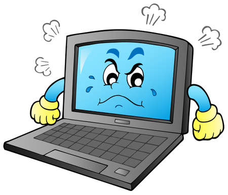 frown: Cartoon angry laptop - vector illustration. Illustration