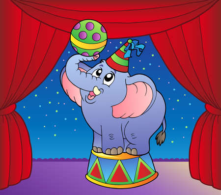 dexterity: Cartoon elephant on circus stage 1 - vector illustration.