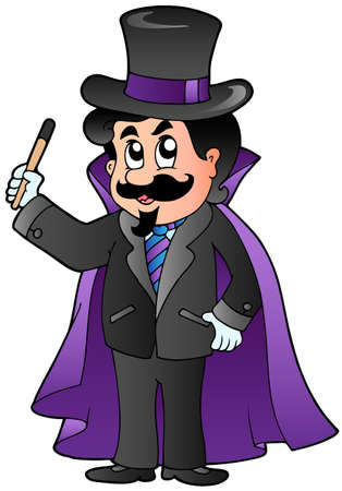 sorcerer: Cartoon magician on white background - vector illustration.
