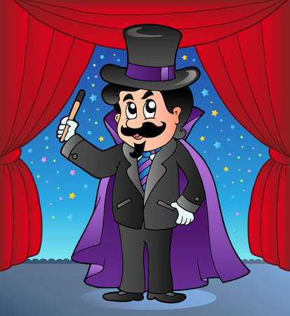 entertainer: Cartoon magician on circus stage - vector illustration.