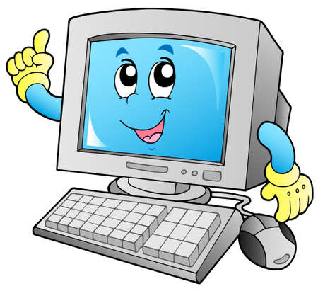 computer help: Cartoon sorridente computer desktop - illustrazione vettoriale.