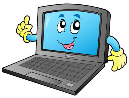 hands on keyboard: Cartoon smiling laptop - vector illustration.