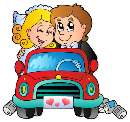 woman driving: Car with wedding couple - vector illustration. Illustration
