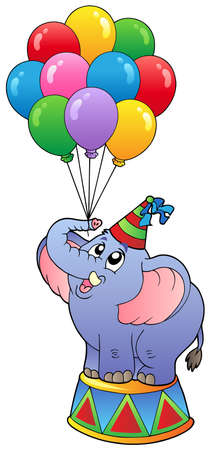 cartoon circus: Circus elephant with balloons 1 - vector illustration.
