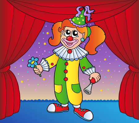Clown girl on circus stage 1 - vector illustration. Vector