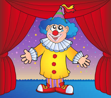 entertainer: Clown on circus stage 1 - vector illustration.