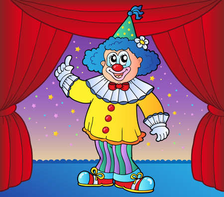stage costume: Clown on circus stage 2 - vector illustration. Illustration