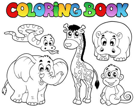 camelopard: Coloring book with African animals - vector illustration.