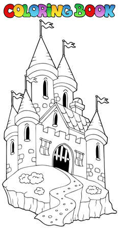 Coloring book with castle 1 - vector illustration. Vector