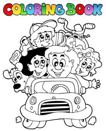 libro caricatura: Libro para colorear con familia en coche - ilustraci�n vectorial.