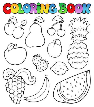 ananas: Coloring book with fruits images - vector illustration. Illustration