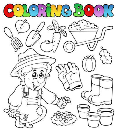 protective clothing: Coloring book with garden theme - vector illustration.