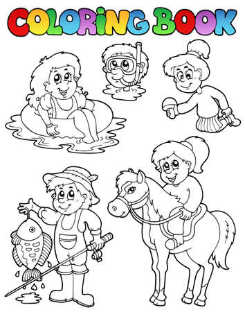 outline fish: Coloring book with kids activities - vector illustration. Illustration