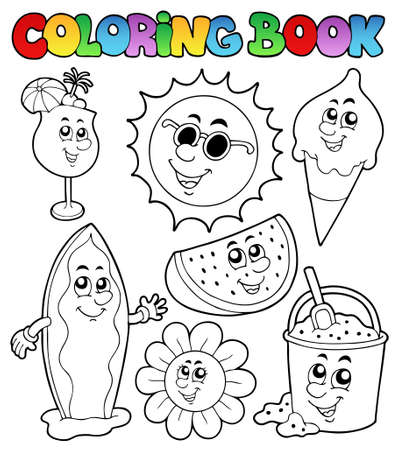 Coloring book with summer pictures - vector illustration. Vector