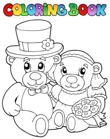 plushy: Coloring book with wedding bears - vector illustration.