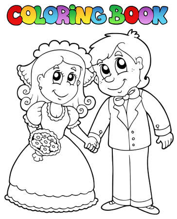 Coloring book with wedding couple - vector illustration. Vector