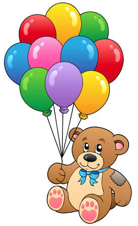 to cuddle: Cute teddy bear holding balloons - vector illustration. Illustration