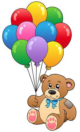 teddy: S�sse Teddyb�r holding Ballons - Vektor-Illustration.