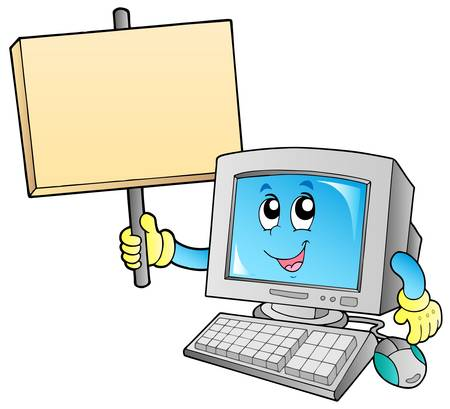 computer cartoon: Desktop computer with blank board - vector illustration.