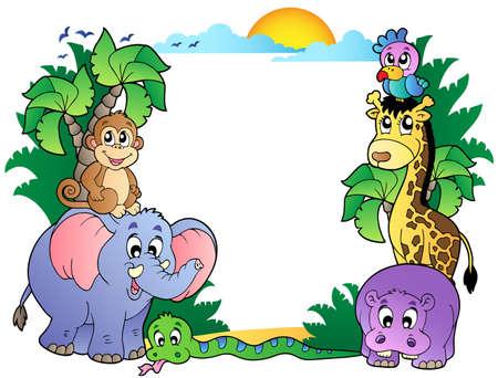 Marco con lindos animales africanos - ilustración vectorial. Ilustración de vector