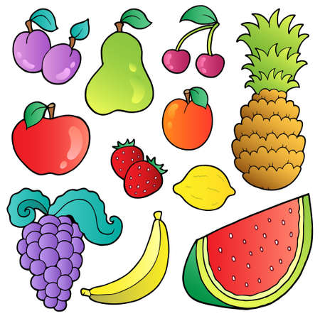 ananas: Fruits images collection - vector illustration.