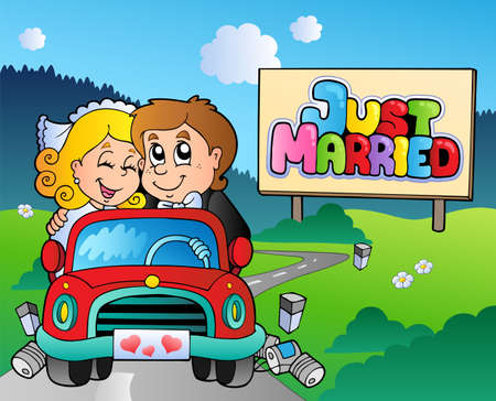 just: Just married couple driving car - vector illustration.