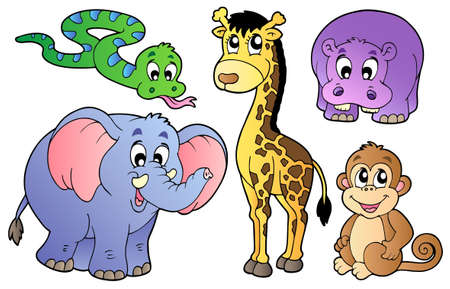 Set van schattige Afrikaanse dieren - vectorillustratie.