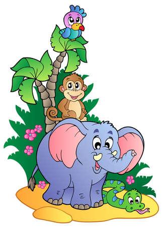 Varios animales africanos lindos 1 - ilustración vectorial.
