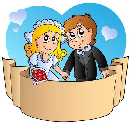 Par de boda con banner - ilustración vectorial.