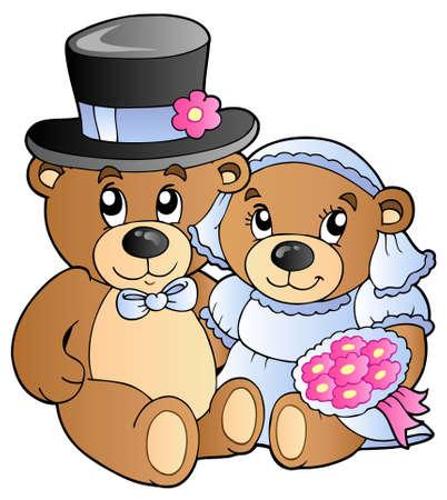 Wedding teddy bears - vector illustration. Vector