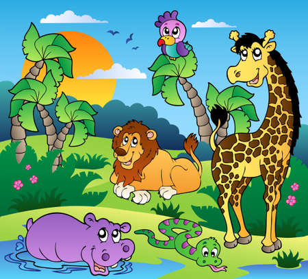 African scenery with animals 1 - vector illustration.