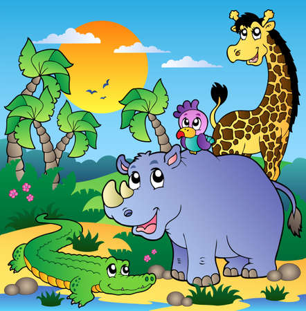 African scenery with animals 3 - vector illustration. Vector