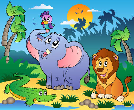 lion cartoon: African scenery with animals 4 - vector illustration.