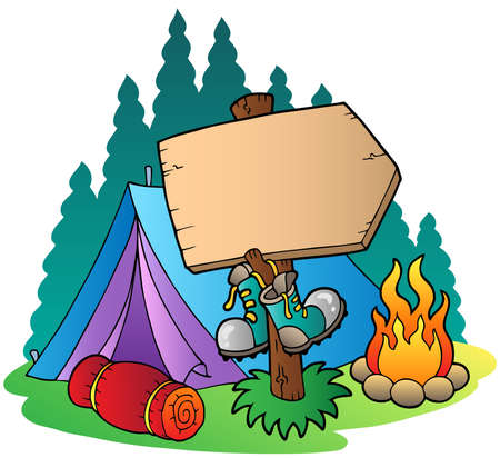 signboard: Camping wooden sign near tent - vector illustration.
