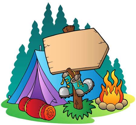letrero: Signo de madera acampar cerca de carpa - ilustración vectorial.