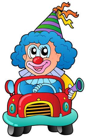 Cartoon clown driving car - vector illustration. Vector
