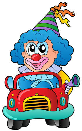 car show: Cartoon clown driving car - vector illustration.