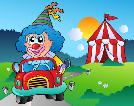 Cartoon clown in car near tent - vector illustration. Vector